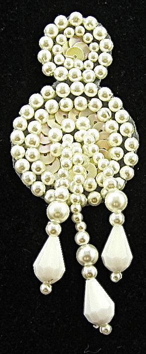 "Epaulet with White Pearls and Tiny Beige Sequins 3.5"" x 1.25"""