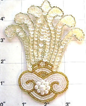 "Load image into Gallery viewer, Designer Motif with Iridescent Sequins White and Gold Beads 5"" x 3.75"""