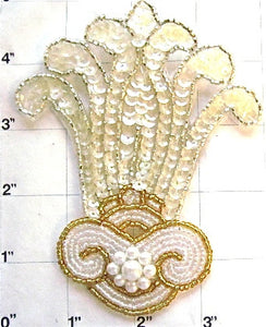 "Designer Motif with Iridescent Sequins White and Gold Beads 5"" x 3.75"""