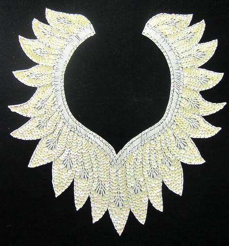 "Designer Neck Line with Creamy White Sequins White Beads 12"" x 11"""