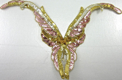"Designer Motif Neck Line with shiny Gold Silver Pink Sequins 10"" x 14"""
