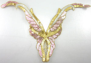 "Designer Motif Neckline with Pink Silver and Gold, Shiny Colored Sequins 10"" x 14"""