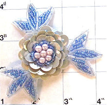 Load image into Gallery viewer, Flower Grey Lite Blue with Pearls 3""