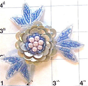 Flower Grey Lite Blue with Pearls 3""