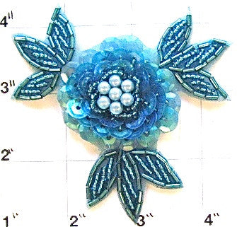 Flower with Turquoise Sequins and Beads 3""