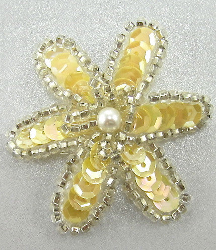 Flower with Creamy Yellow Sequins Silver Beads and Pearl  1.5""