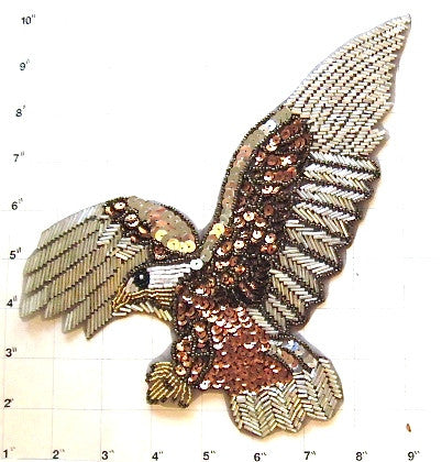 "Eagle with Bronze and Silver Sequins and Beads 10"" x 8"""