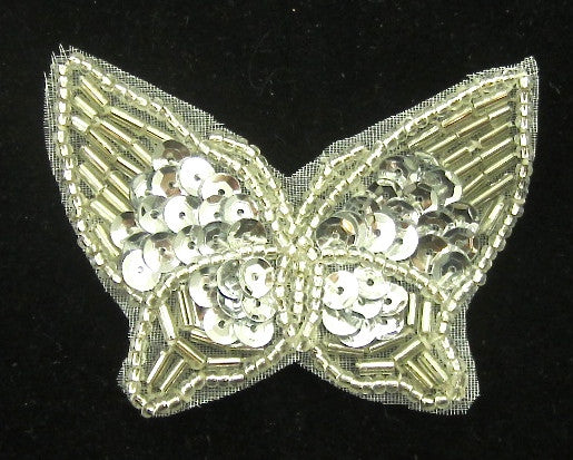 "Butterfly with Silver Sequins and Beads 2"" x 2.5"""
