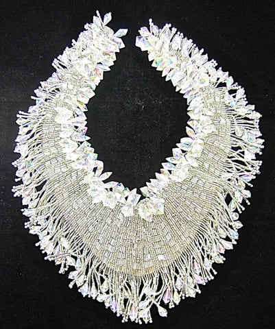 "Designer Motif Neck Line Exquisite Silver and Iridescent Beads 12""x 10"""