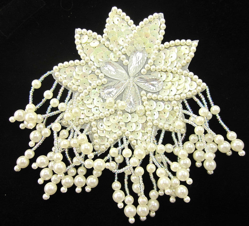 "Epaulet with China White Sequins and Beads 5"" x 4"""