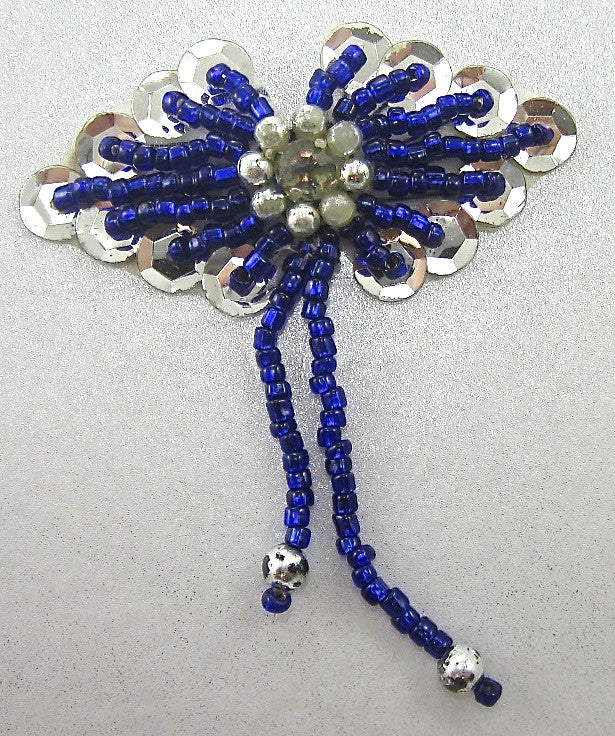 "Epaulet with Royal Blue and Silver Beads and Silver Sequins 3"" x 2.5"""