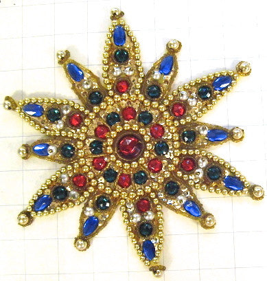 Designer Motif with Multi-Colored Jewels and Gold Beads 8""
