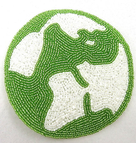 World Map with White and Lime Green Beads 5""