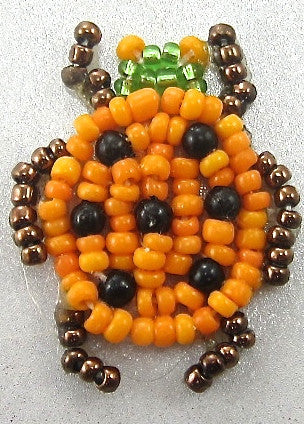 Bug with Orange and Bronze Beads 1.25""