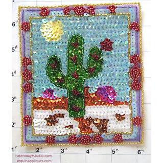 "Cactus on Patch with Sun Multi-Colored Sequins and Beads  4.75"" x 5.5"""