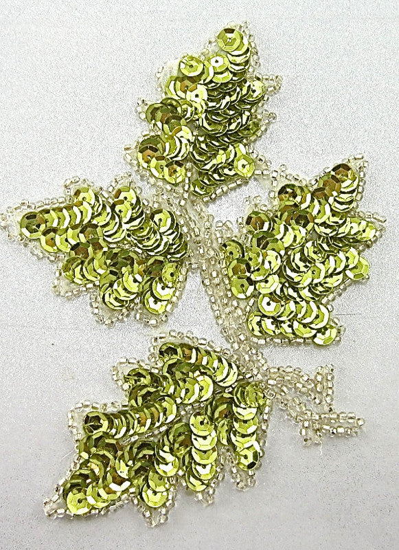 "Leaf with Yellowish Green Sequins Silver Beads 5"" x 4"""