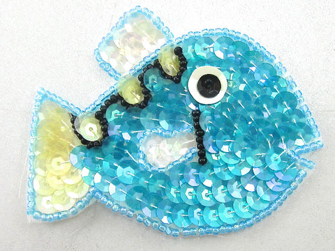 "Fish with Turquoise Clear Sequins and Black Eye 2.25"" x 3"""