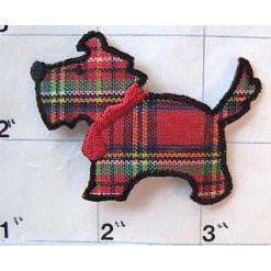 Plaid Scotty Dog Embroidered Pre-Glued 2.75 x 1.5""