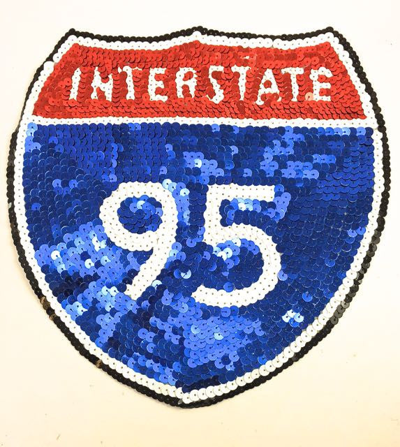 "Interstate 95 Road Sign All Sequins 9"" X 9"""