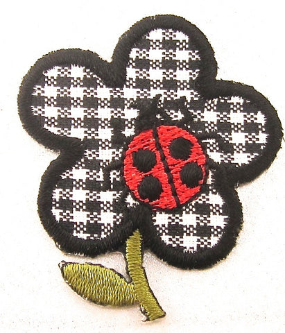 "Flower Black and White Checekred with Ladybug Embroidered Iron-on 2"" x 1.5"""