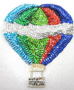 "Balloon Hot Air with Multi-Colored Sequins and Beads 7.5"" x 6"" - Sequinappliques.com"