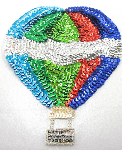 "Balloon Hot Air with Multi-Colored Sequins and Beads 7.5"" x 6"""