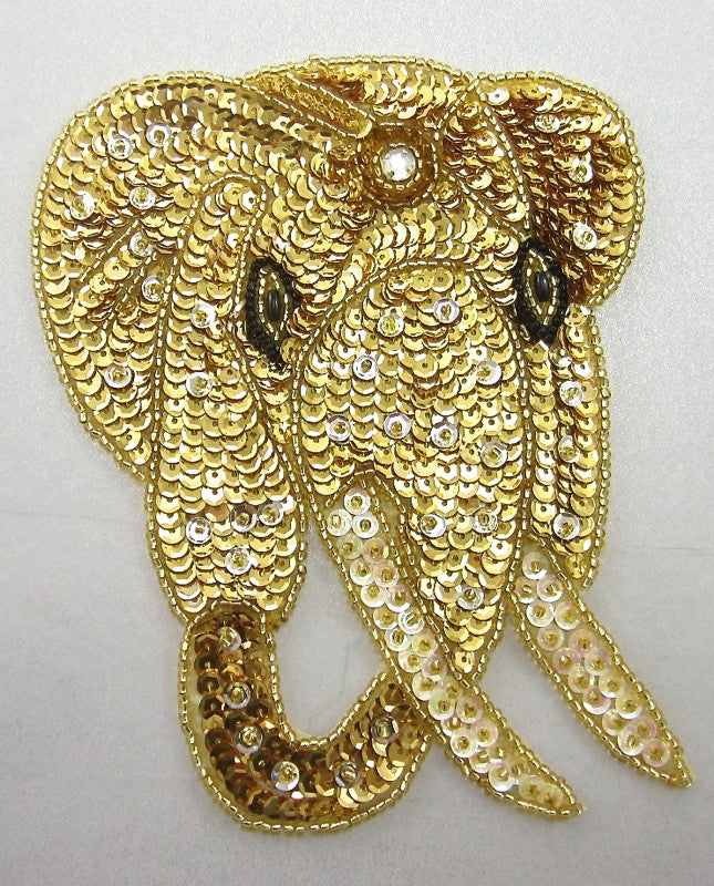 "Elephant Head with Gold Sequins Beads and Rhinestone 6"" x 5"""