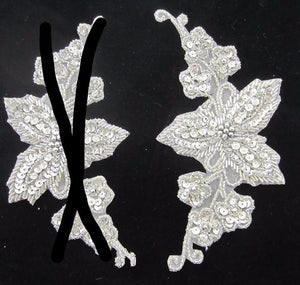"Flower with Silver Sequins and Beads 6.5"" x 4"""