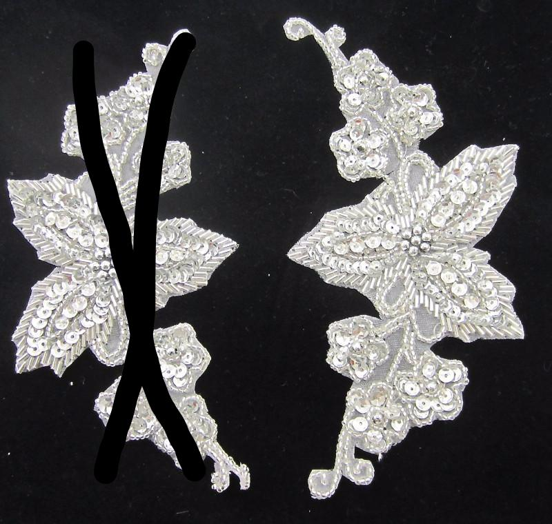 Flower with Silver Sequins and Beads 6.5