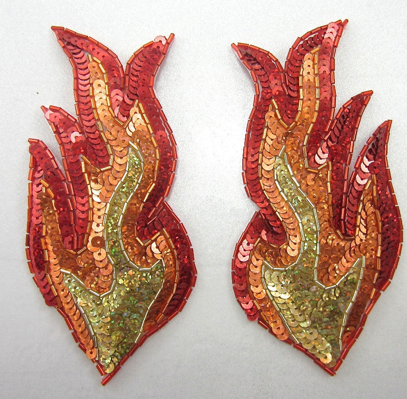 "Flame left facing side only Red Gold Orange Sequins and Beads 7.5"" x 3"""