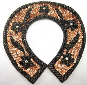 "Horseshoe with Bronze Sequins Gold and Black Beads and AB Rhinestones 8"" x 8"""
