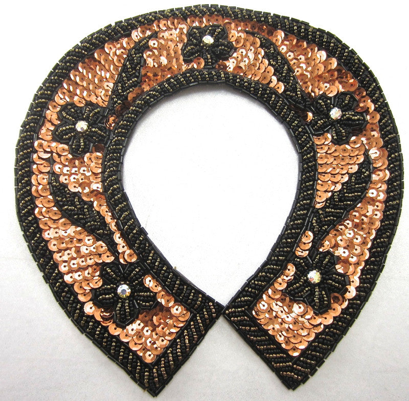 Horseshoe with Bronze Sequins Gold and Black Beads and AB Rhinestones 8