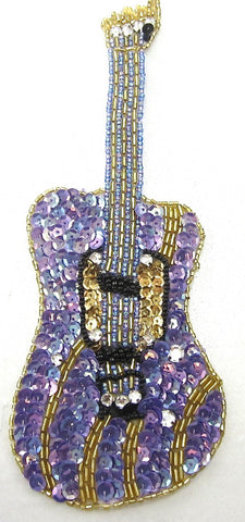 "Guitar Purple Sequins and Beads 8.5"" x 3"""