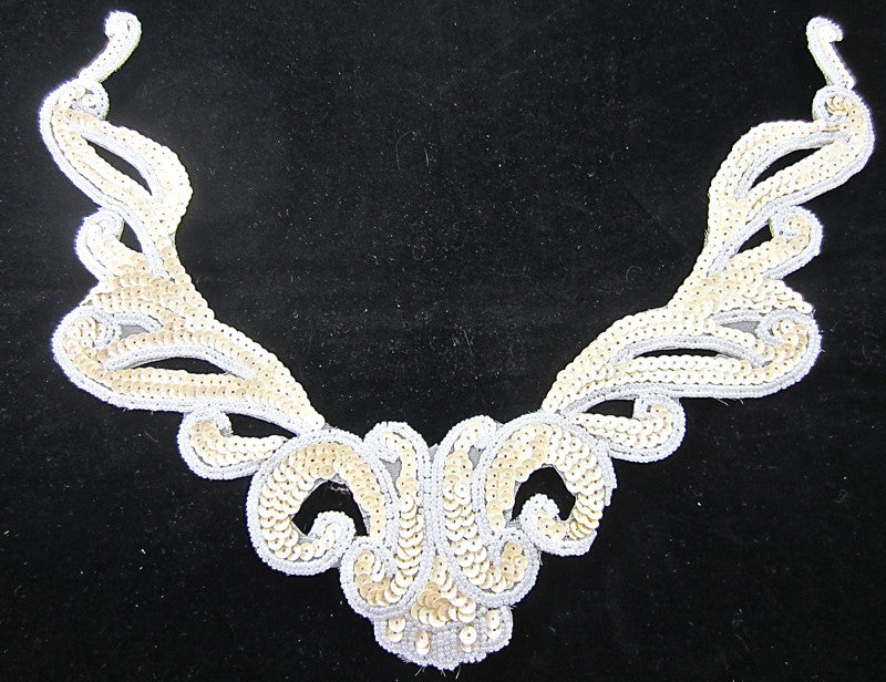 "Designer Neck Line with Beige Sequins White Beads 9.5"" x 12"""