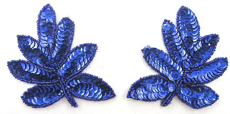 "Leaf Pair with Royal Blue Sequins and Beads 3.5"" x 4"""