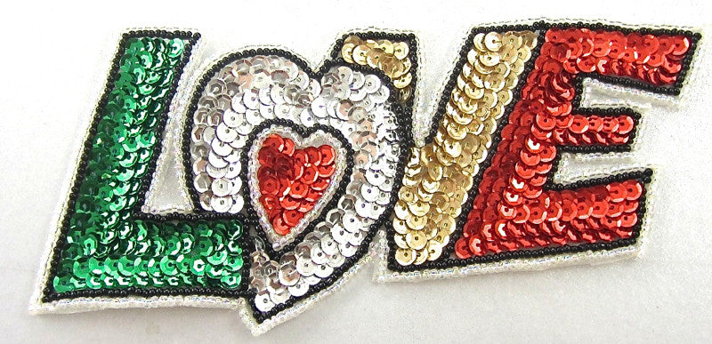"LOVE Word with Green Silver Red Gold Letters 3"" x 6.5"""