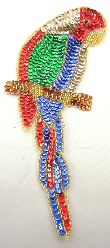"Parrot on Branch Blue Red Green Sequins 10"" x 4"""