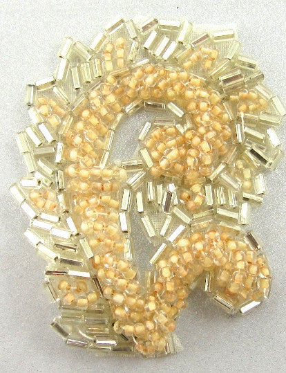 "Designer Motif with Peach and Silver Beads 2.5"" x 1.5"""