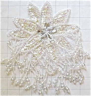 "Epaulet with iridescent creamy sequins and white beads 8"" x 5.5"""