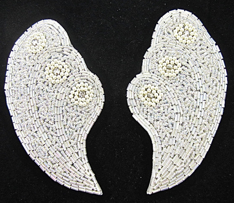 "Designer Sea Shell Shaped Motif  Pairs with Rhinestones and Pearls 5"" x 3"""