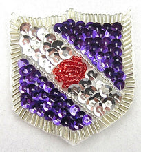 "Load image into Gallery viewer, Crest with Silver Purple Red Sequins and Beads  2"" x 2"""