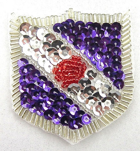 "Crest with Silver Purple Red Sequins and Beads  2"" x 2"""