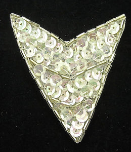 "Designer Motif with Iridescent Sequins Silver Beads 3"" x 2"""