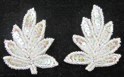 "Leaf Pair with Iridescent Sequins and Beads 2"" x 1.5"""