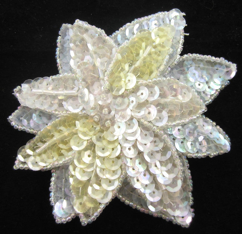 Flower Multi Colored Double Layered Iridescent Sequins and Beads 4""