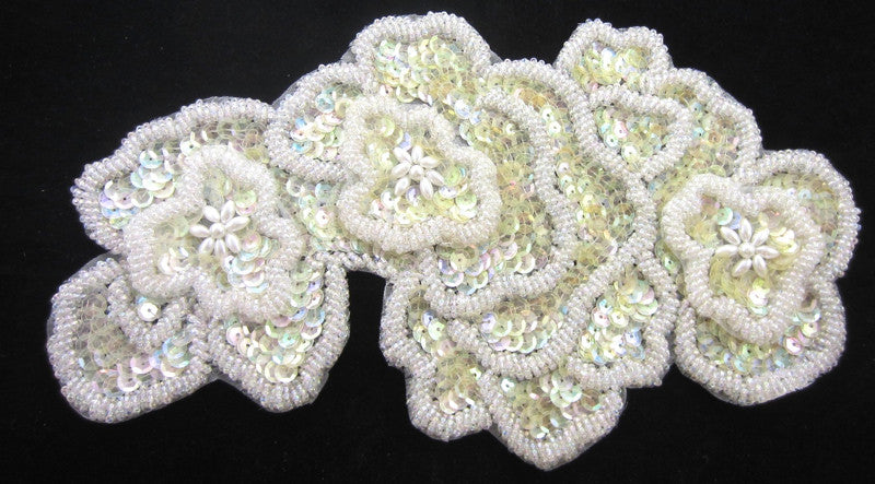 "Flowers with Lite Yellowish Iridescent Sequins Layered and Beads 10"" x 5"""