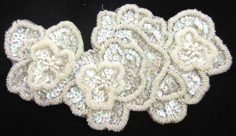 "Flowers Layered Texture Clear Iridescent Sequins and Beads 10"" x 6"""