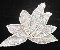 "Leaf with Iridescent Sequins Beads 4"" x 5"""
