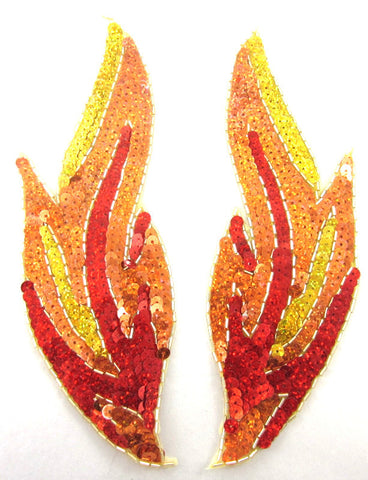 "Flame Pair Gold Red Orange Sequins and Beads  9"" x 3"""