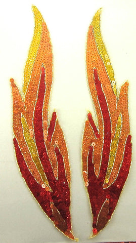 "Flame Pair Red and Gold Orange Sequins Gold Beaded Trim 14""x 3"""